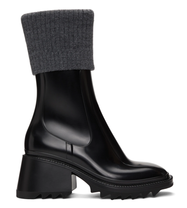 Chloé Black & Grey Betty Rain Boots