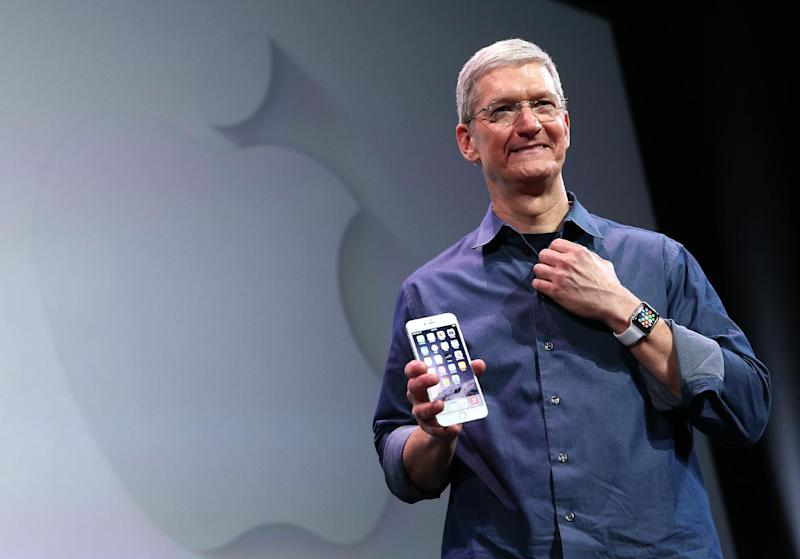 """Apple CEO Tim Cook, seen here showing off the new iPhone 6 and Apple Watch earlier this year, says he is """"proud to be gay"""" (AFP Photo/Justin Sullivan)"""