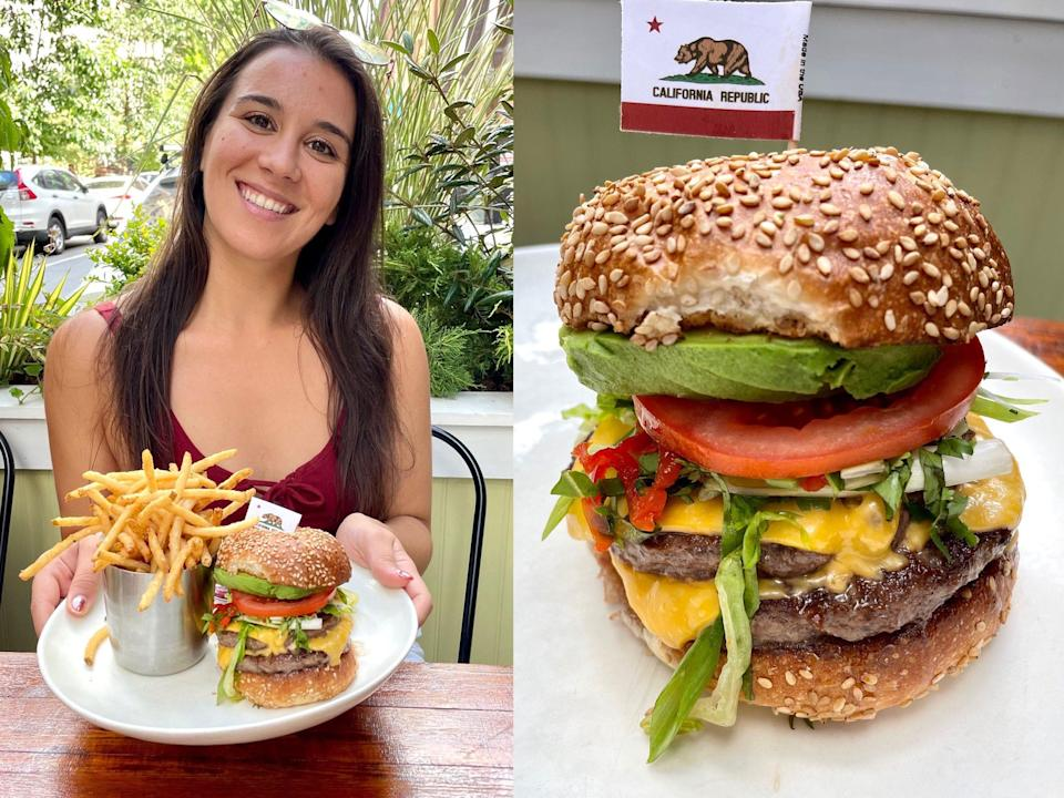 Anneta with Obama's favorite burger at Upland