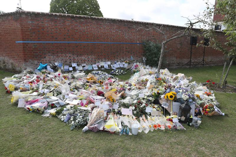 Floral tributes were laid for PC Harper at the Thames Valley Police Training Centre. (PA)