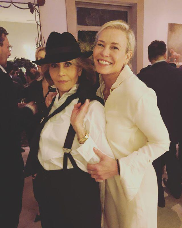 Jane Fonda, at her birthday party, with Chelsea Handler. (Photo: Instagram/Chelsea Handler)