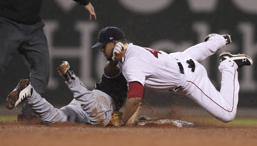 Boston Red Sox second baseman Marco Hernandez, right, collides with Chicago White Sox's Tim Anderson, who was caught trying to advance to second on his single during the fifth inning of a baseball game at Fenway Park in Boston, Tuesday, June 25, 2019. (AP Photo/Charles Krupa)