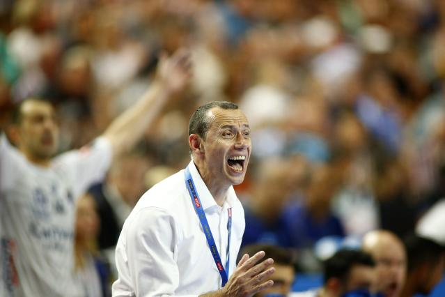 Handball - Men's EHF Champions League Final - HBC Nantes vs Montpellier HB - Lanxess Arena, Cologne, Germany - May 27, 2018. Montpellier HB coach Patrice Canayer reacts. REUTERS/Thilo Schmuelgen