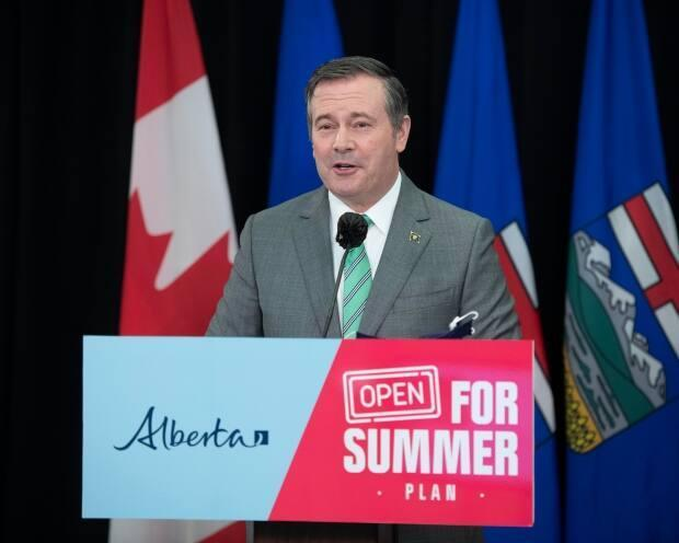 Premier Jason Kenney provided an update on COVID-19 and the province's strategy for safely easing restrictions at a news conference in Edmonton on Wednesday, May 26, 2021. The