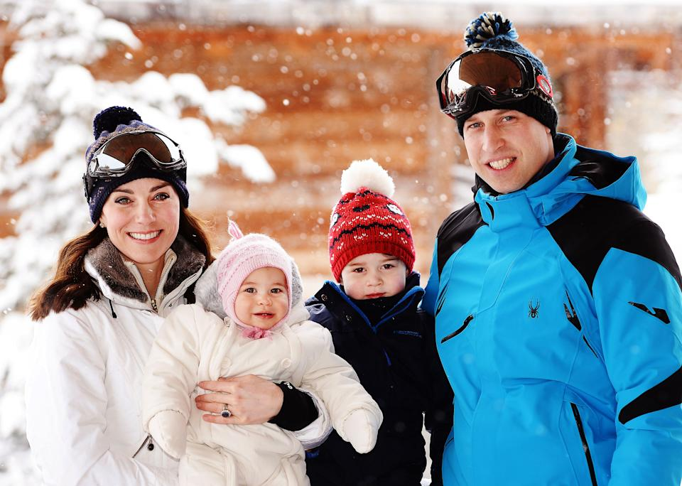 The Duke and Duchess of Cambridge with their children, Prince George and Princess Charlotte, enjoy a short private break skiing in the French Alps. PRESS ASSOCIATION Photo. Picture date: Thursday March 3, 2016. See PA story ROYAL Skiing  Photo credit should read: John Stillwell/PA Wire