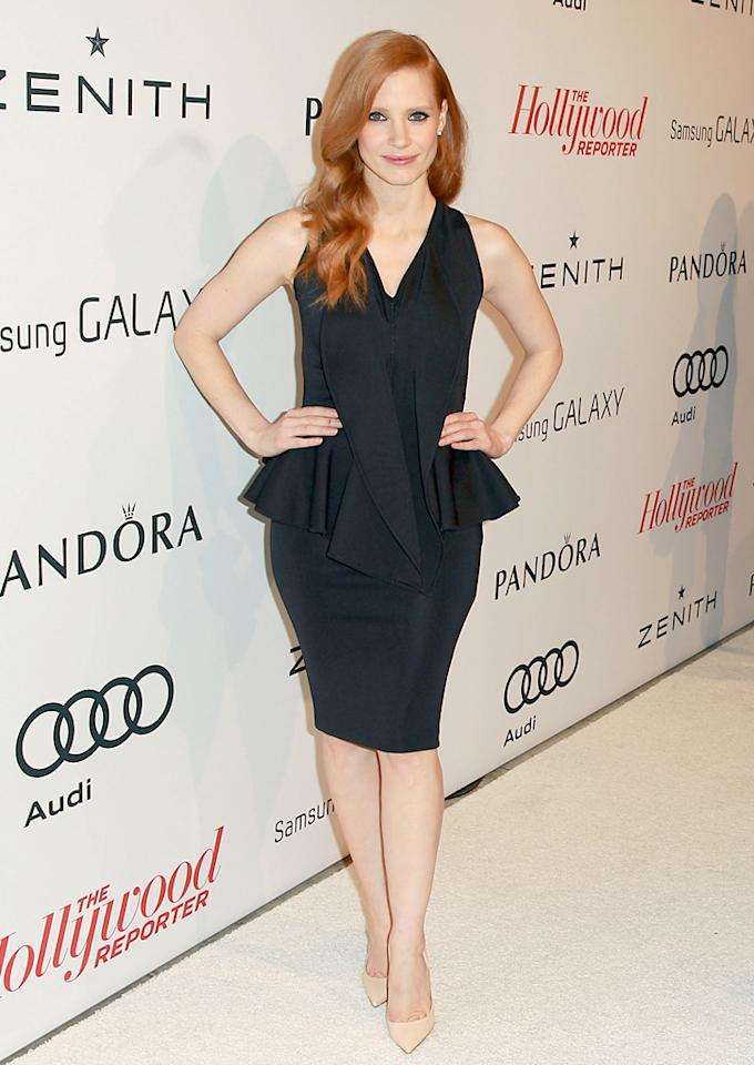 BEVERLY HILLS, CA - FEBRUARY 04:  Jessica Chastain arrives at The Hollywood Reporter nominees' night 2013 celebrating 85th annual Academy Award nominees at Spago on February 4, 2013 in Beverly Hills, California.  (Photo by Joe Scarnici/WireImage)
