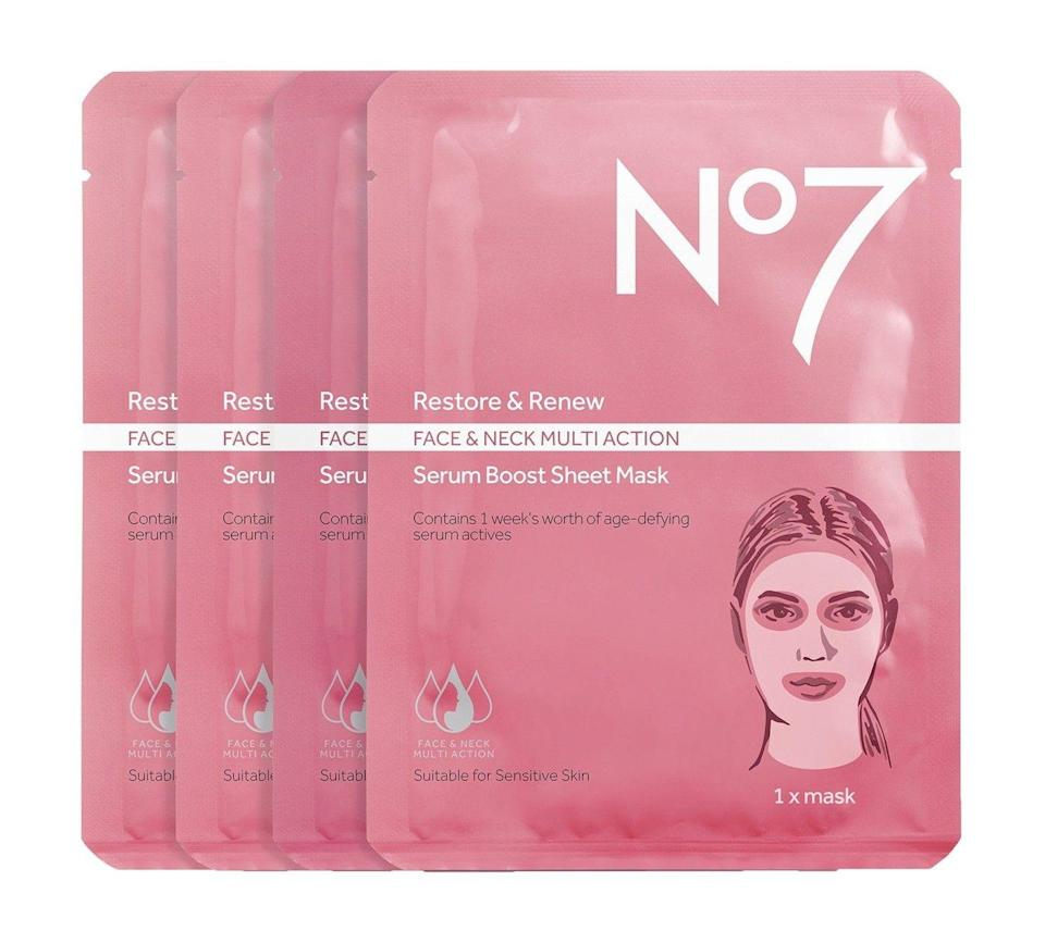 """<p>If you're going to sheet mask, you might as well make sure it covers <em>everything</em>. This one makes sure your neck gets as much love as the rest of your face.</p><br><br><strong>No7</strong> Restore & Renew Multi Action Serum Boost Sheet Mask Val, $16.79, available at <a href=""""https://www.target.com/p/no7-restore-renew-multi-action-serum-boost-sheet-mask-value-pack/-/A-53581257"""" rel=""""nofollow noopener"""" target=""""_blank"""" data-ylk=""""slk:Target"""" class=""""link rapid-noclick-resp"""">Target</a>"""