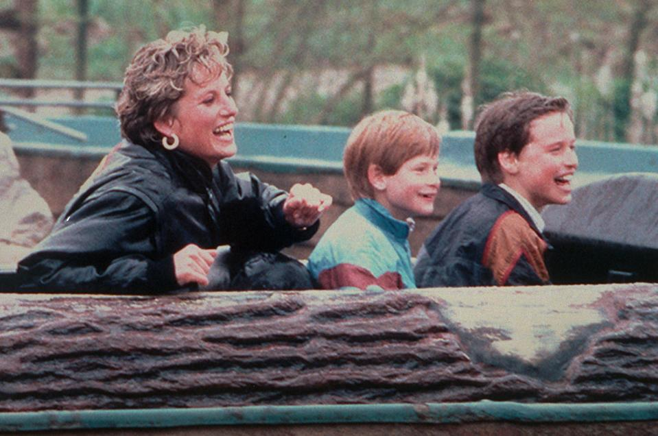 Diana enjoying a day out at Thorpe Park with Harry and William (PA Media)