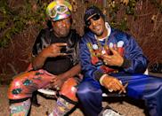 <p>George Clinton and Snoop Dogg hang at Clinton's 80th birthday party in Los Angeles on Thursday night. </p>