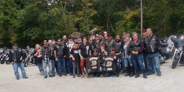PHOTO: The Milwaukee Iron motorcycle group of Kokomo, Indiana, lined up at 8-year-old Bryanne's stand after her mom Daryn Sturch, a nurse, helped them after a highway crash. (Daryn Sturch)