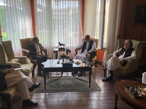 Pakistan's Ambassador to Afghanistan Mansoor Ahmad Khan meeting with former Afghan president Hamid Karzai and senior leader of ousted government Abdullah Abdullah in Afghanistan on Thursday.