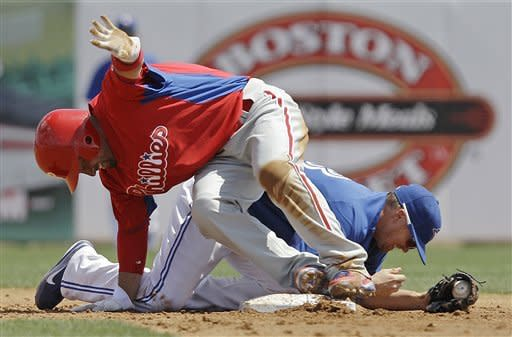 Philadelphia Phillies Shane Victorino, left, steadies himself after getting tangled up with Toronto Blue Jays first baseman Adam Lind (26), who covered second on Victorino's third-inning stolen base, during their spring training baseball game in Dunedin, Fla., Sunday, March 18, 2012. (AP Photo/Kathy Willens)