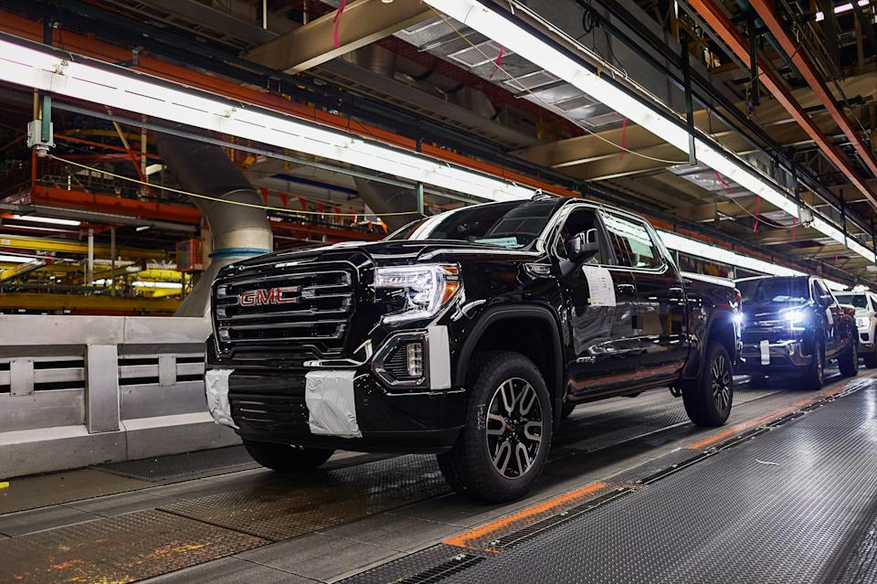 A GMC Sierra 1500 pickup on the assembly line at the General Motors Fort Wayne Assembly plant on Tuesday, May 14, 2019 in Roanoke, Indiana. GM announced Thursday, May 30, 2019 it is investing $24 million in the plant to expand production of full size Chevrolet Silverado 1500 and GMC Sierra 1500 pickups in Roanoke, Indiana.