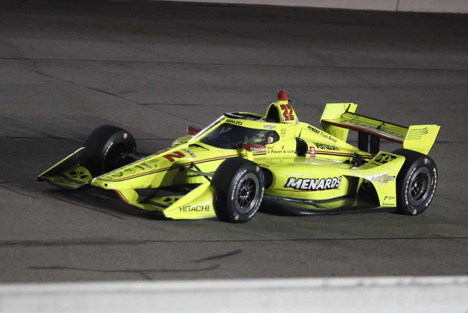 Simon Pagenaud, of France, drives during an IndyCar Series auto race Friday, July 17, 2020, at Iowa Speedway in Newton, Iowa. (AP Photo/Charlie Neibergall)