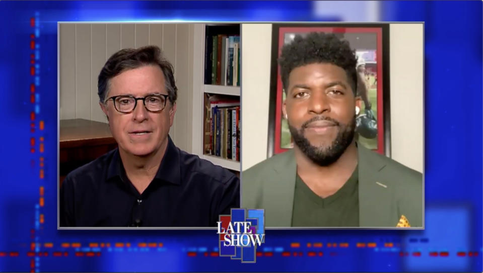 NEW YORK - JUNE 9: The Late Show with Stephen Colbert and Emmanuel Acho during Tuesday's June 9, 2020 show. Image is a screen grab. (Photo by CBS via Getty Images)