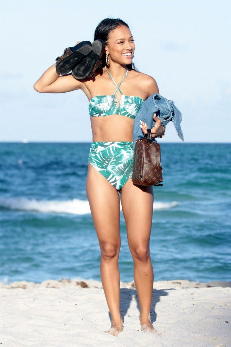 Karrueche Tran rocking her high-waisted bikini. (Photo: AKM GSI)