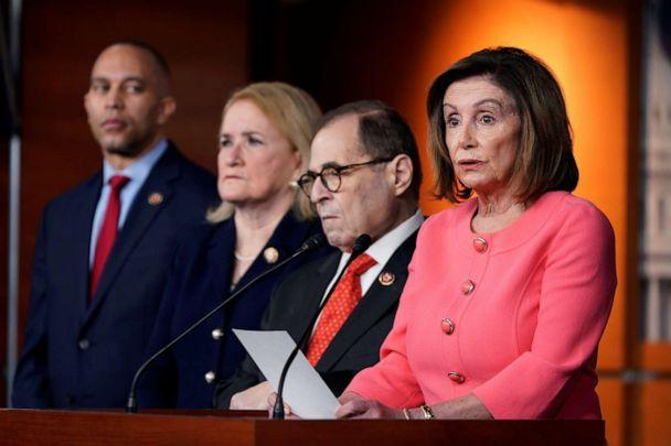 PHOTO: House Speaker Nancy Pelosi announces the House of Representatives managers for the Senate impeachment trial of President Donald Trump during a news conference at the U.S. Capitol in Washington, Jan. 15, 2020. (Joshua Roberts/Reuters)