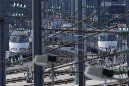 Rail tracks and trains, of the French state-owned railway company SNCF, are seen at the station in Nantes, France March 20, 2018. REUTERS/Stephane Mahe