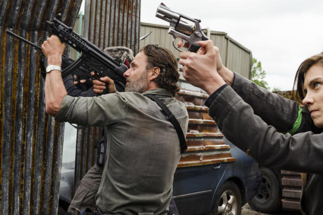 <p>Lauren Cohan as Maggie Greene, Khary Payton as Ezekiel, Andrew Lincoln as Rick Grimes in AMC's <i>The Walking Dead</i>.<br>(Photo: Gene Page/AMC) </p>