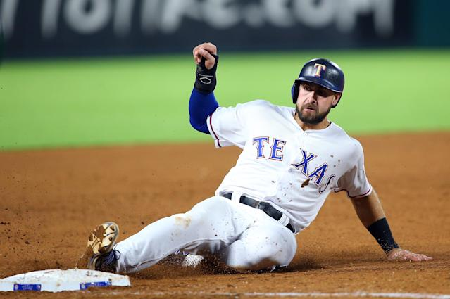 "<a class=""link rapid-noclick-resp"" href=""/mlb/players/9630/"" data-ylk=""slk:Joey Gallo"">Joey Gallo</a> might slide in standard 5×5, but he's a fun play in OBP formats (Rick Yeatts/Getty Images)"