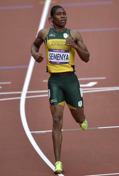 South Africa's Caster Semenya competes in a women's 800-meter heat during the athletics in the Olympic Stadium at the 2012 Summer Olympics, London, Wednesday, Aug. 8, 2012. (AP Photo/Martin Meissner)