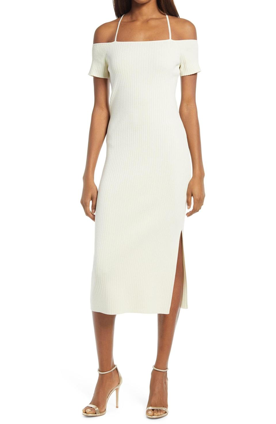 <p>This <span>Wayf Deena Off the Shoulder Rib Knit Midi Dress</span> ($65) will take you from a daytime party to a late dinner in style.</p>