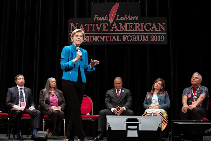 """I am sorry for harm I have caused,"" Sen. Elizabeth Warren (D-Mass.) told the audience at the Frank LaMere Native American Presidential Forum. (Photo: Alex Wroblewski / Reuters)"