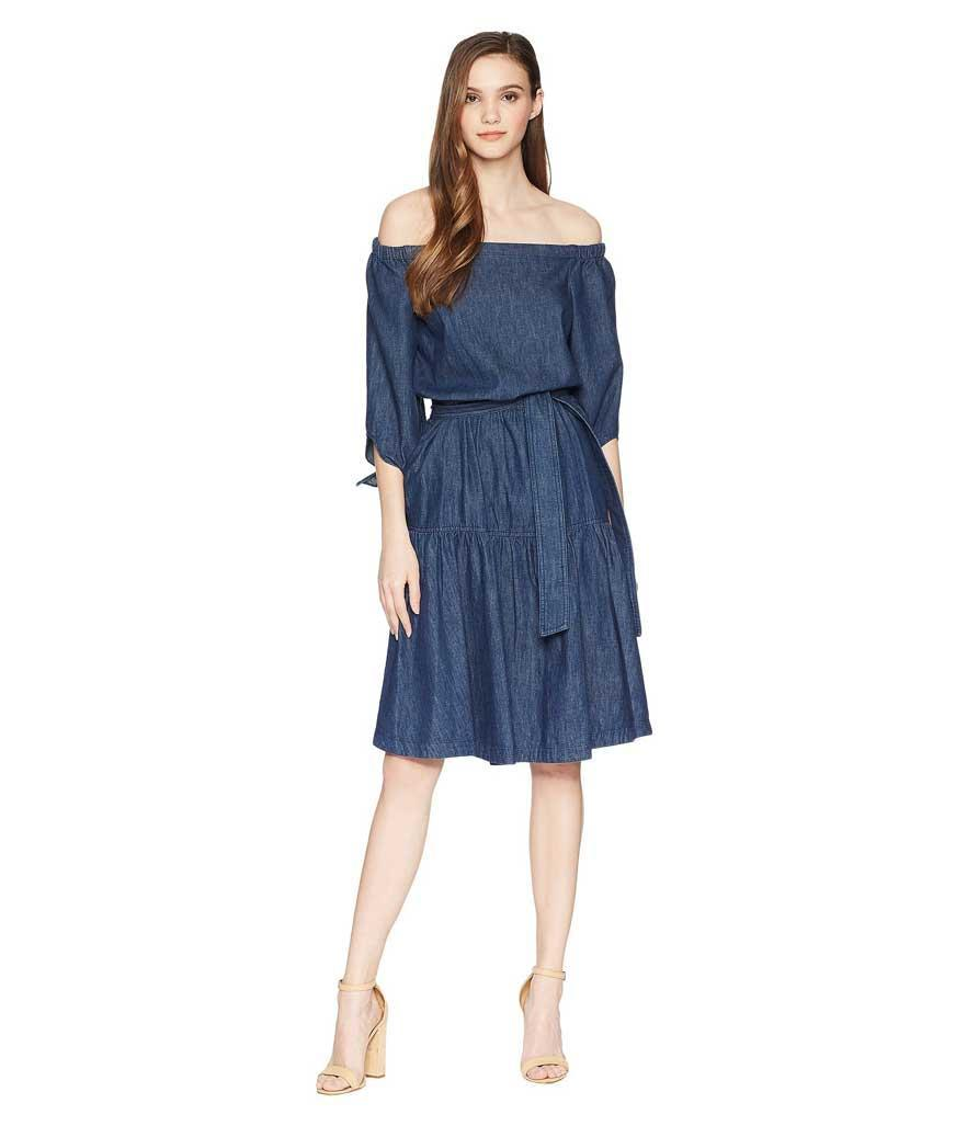 Off-the-shoulder denim dress.
