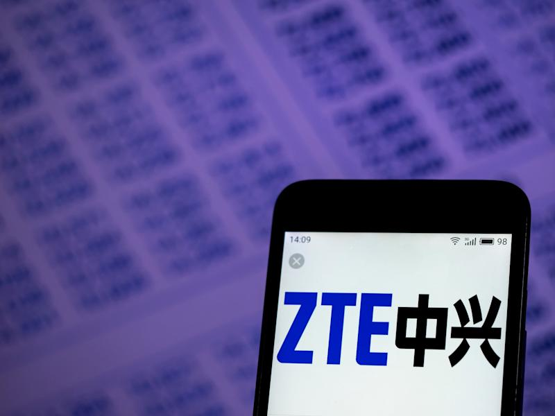 ZTE's company logo displayed on a smartphone. (Photo: Igor Golovniov/SOPA Images/LightRocket via Getty Images)