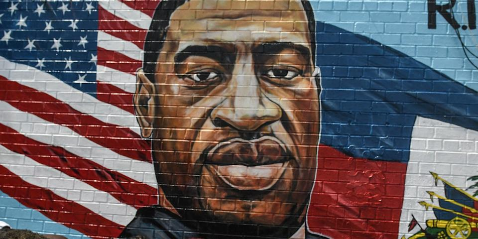 A mural painted by artist Kenny Altidor depicting George Floyd can be seen in the Brooklyn borough New York City.