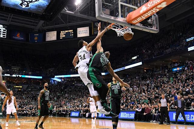 This dunk on Al Horford apparently wasn't enough to earn Giannis Antetokounmpo a free taco. (Getty Images)
