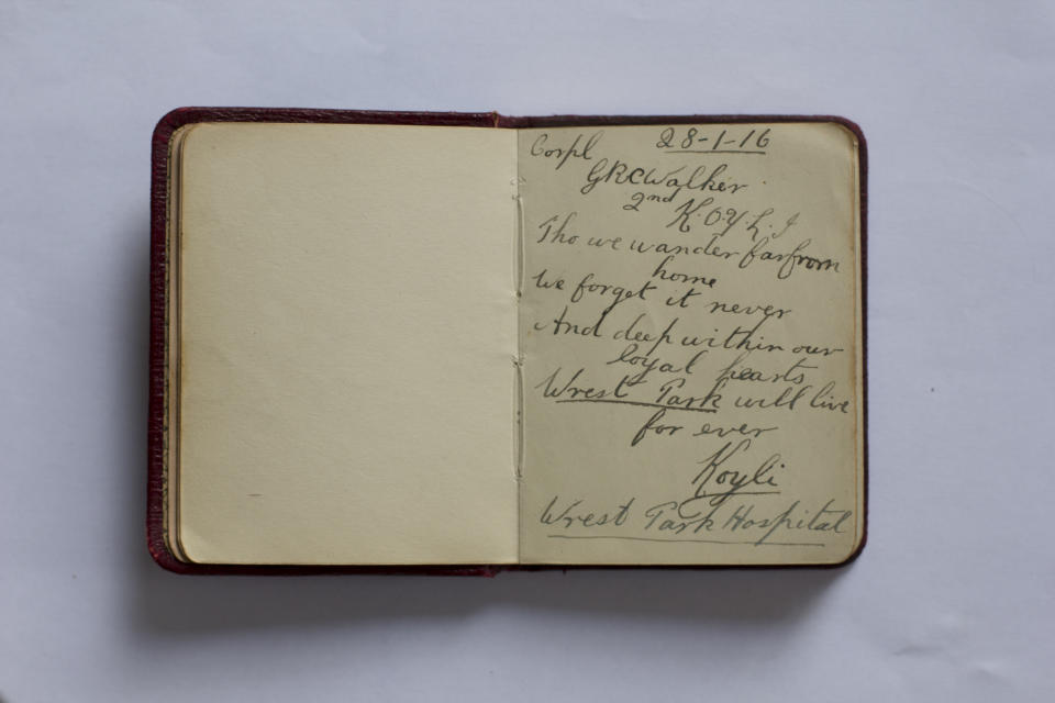 Nurse Buller's autograph book contained messages of gratitude from soldiers (English Heritage/PA)