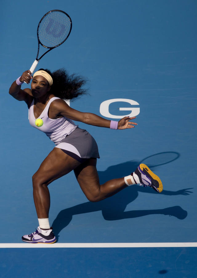 Serena Williams of U.S. returns a shot to Maria Kirilenko of Russia during the China Open tennis tournament at the National Tennis Stadium in Beijing, China, Thursday, Oct. 3, 2013. (AP Photo/Andy Wong)