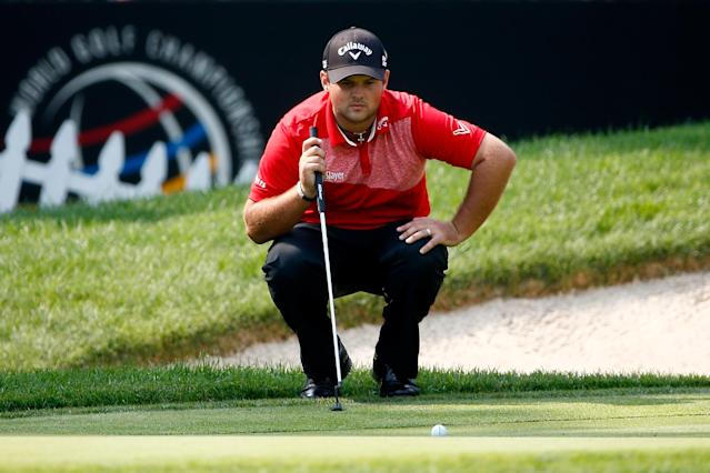 Patrick Reed lines up a putt on the 16th green during the second round of the World Golf Championships-Bridgestone Invitational at Firestone Country Club South Course on August 1, 2014 in Akron, Ohio (AFP Photo/Sam Greenwood)