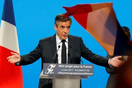Francois Fillon, 2017 presidential election candidate of the French centre-right delivers a speech at a campaign rally in Aubervilliers