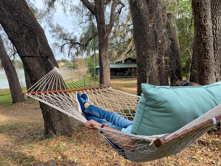 Guests of Munchie's Live BBQ can relax lakeside on hammocks until chef Mann rings the dinner bell. (Terri Peters)