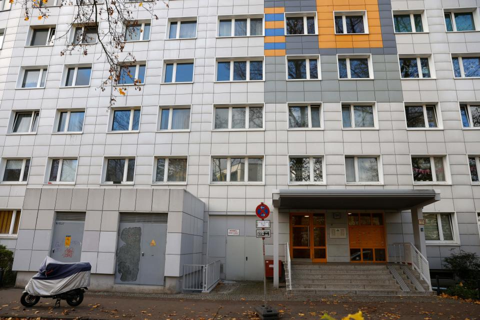 Picture taken on November 20, 2020 shows a residential building in Berlin's Lichtenberg district, where a presumed victim of cannibalism was reported to live.
