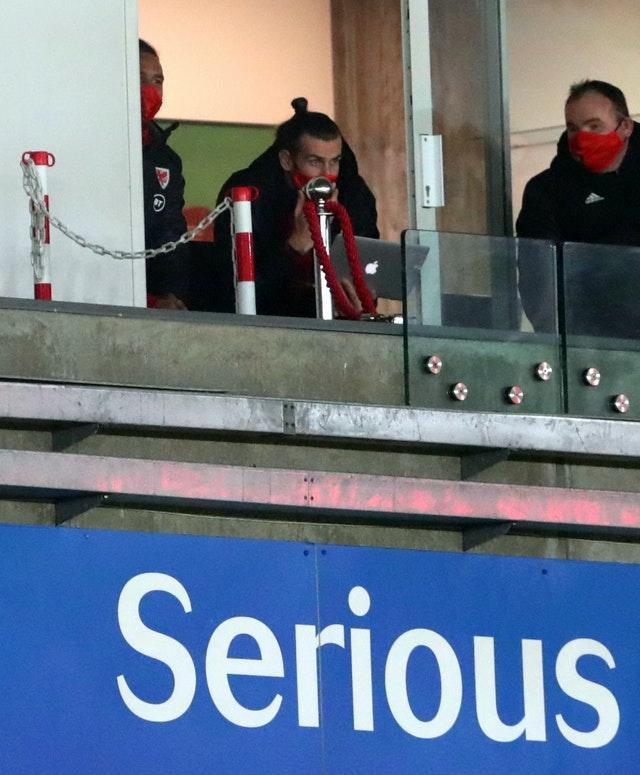 Gareth Bale watched on from the Liberty Stadium stands