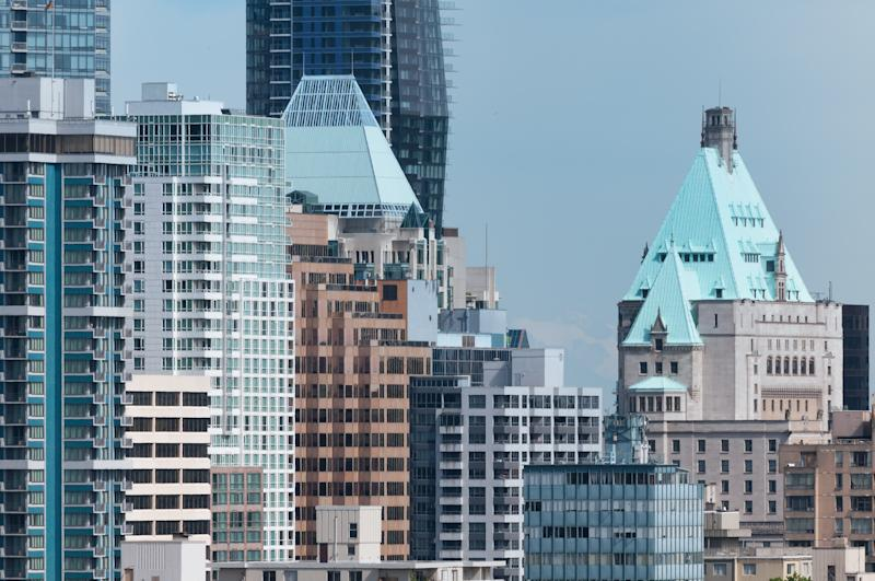 """""""Cityscape of downtown Vancouver, British Columbia, Canada. The iconic Fairmont Hotel Vancouver is on the right, surrounded by office buildings, apartments and hotels in the downtown core.More downtown Vancouver:"""""""