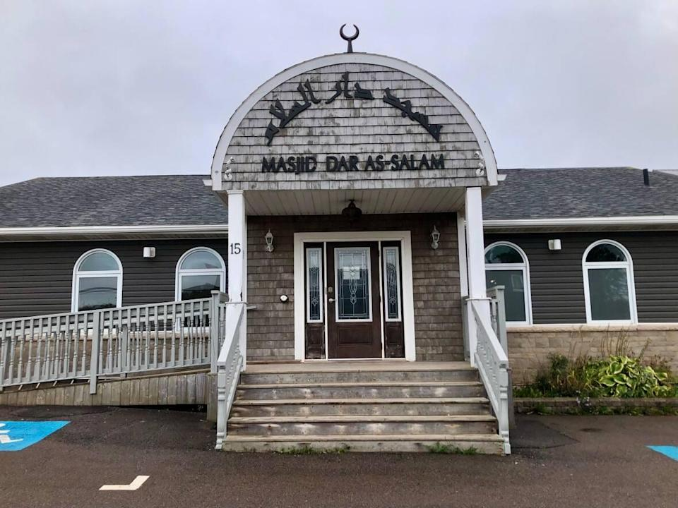 Muslims attending the Masjid Dar As-Salam mosque in Charlottetown have to bring their own prayer rugs and leave physical distance among worshippers.  (Steve Bruce/CBC - image credit)