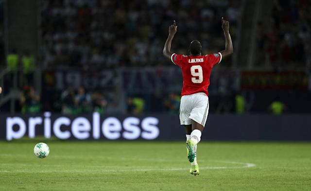 Soccer Football - Real Madrid v Manchester United - Super Cup Final - Skopje, Macedonia - August 8, 2017 Manchester United's Romelu Lukaku celebrates scoring their first goal REUTERS/Eddie Keogh TPX IMAGES OF THE DAY