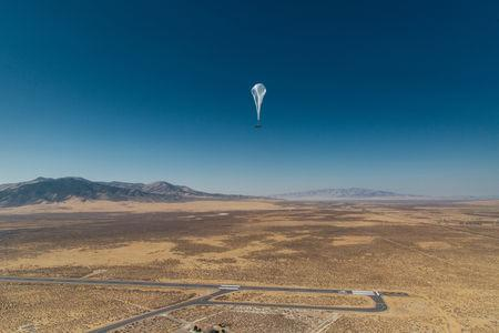 Undated handout photo of a Project Loon balloon en route to Puerto Rico from Nevada. REUTERS/Google/Handout