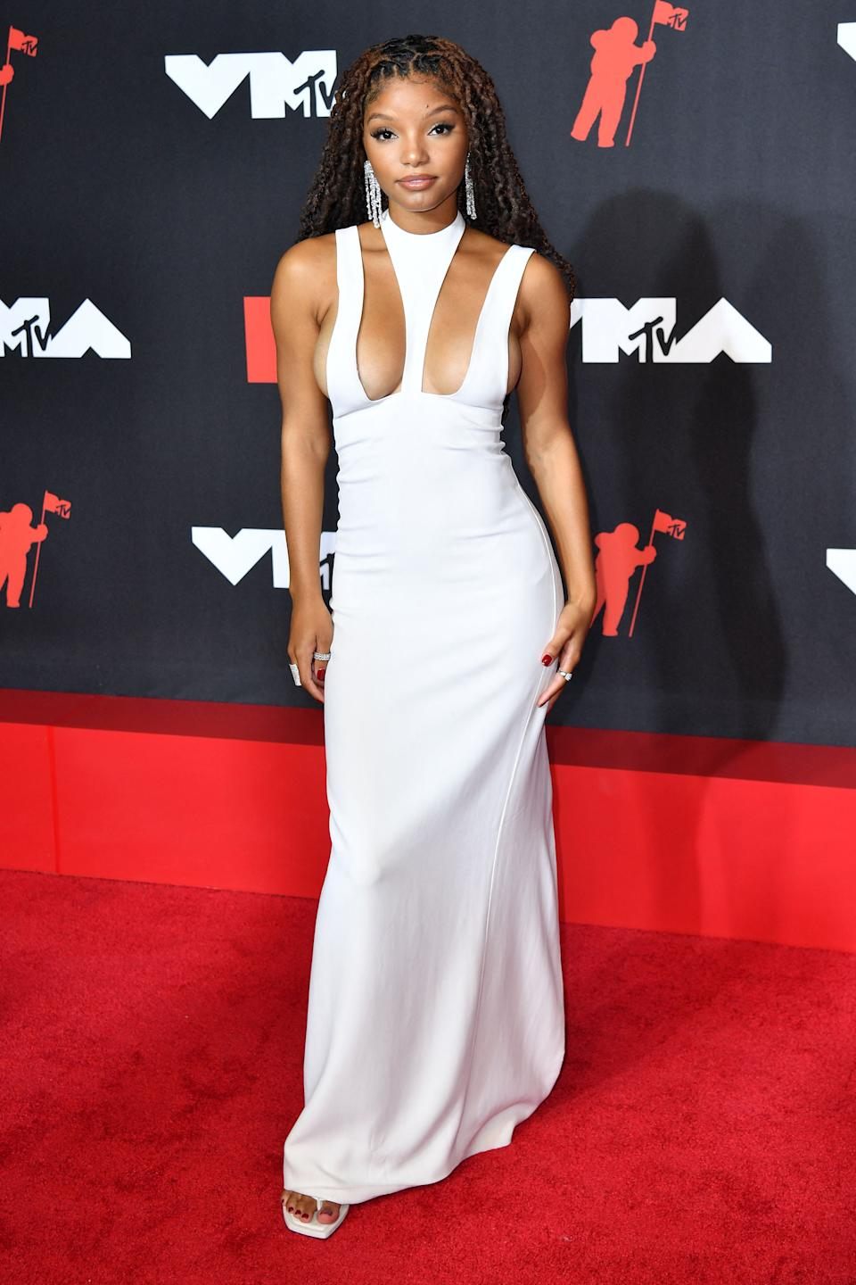 R&B duo member Halle Bailey arrives for the 2021 MTV Video Music Awards