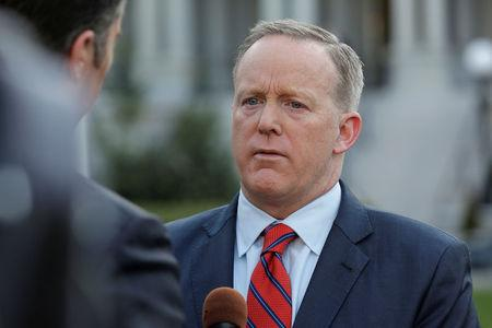 White House Press Secretary Sean Spicer apologizes during an interview for saying Adolf Hitler did not use chemical weapons, at the White House in Washington