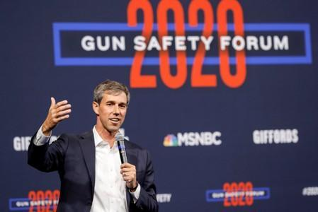 U.S. Democratic presidential candidate and former Texas Congressman Beto O'Rourke responds to a question during a forum held by gun safety organizations the Giffords group and March For Our Lives in Las Vegas