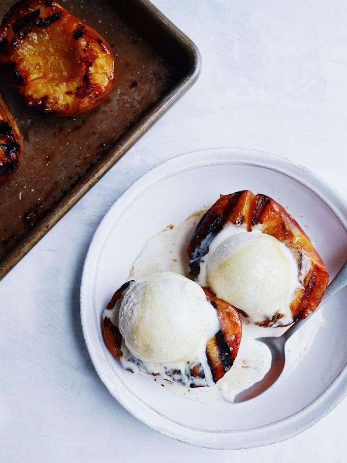 """<p>Proof you can grill your entire meal.</p><p>Get the recipe from <a href=""""https://www.delish.com/cooking/recipe-ideas/a21087380/grilled-peaches-recipe/"""" rel=""""nofollow noopener"""" target=""""_blank"""" data-ylk=""""slk:Delish"""" class=""""link rapid-noclick-resp"""">Delish</a>.</p>"""
