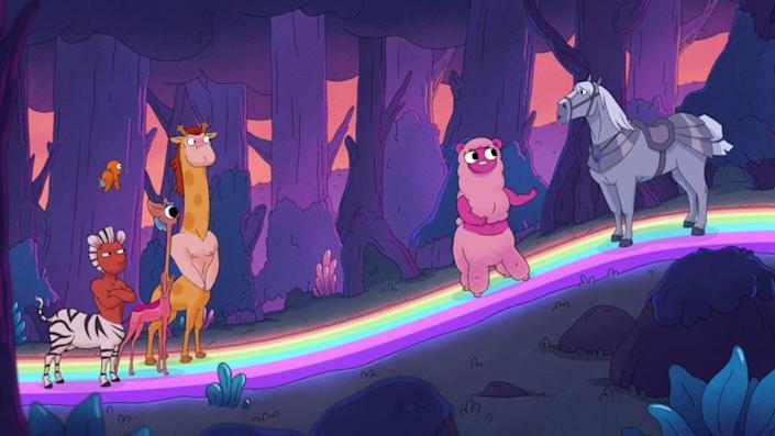 A still from Netflix's new animated series Centaurworld shows a collection of strange animal horse hybrids talking to a real horse on a rainbow road