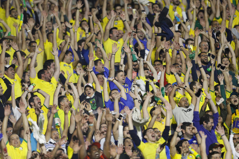 Fans cheer during a Copa America Group A soccer match between Brazil and Bolivia at the Morumbi stadium in Sao Paulo, Brazil, Friday, June 14, 2019. (AP Photo/Victor Caivano)