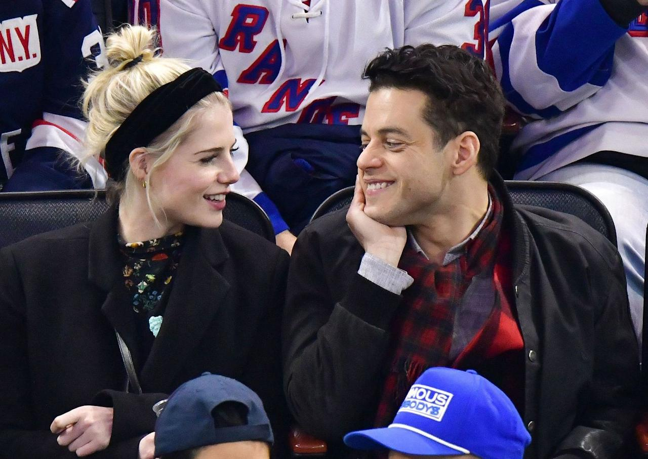 <p>After a string of glamorous award ceremony attendances, the couple kept it casual with a day date at a hockey game. Malek and Boynton sat together - and looked at each other adoringly - at the San Jose Sharks v New York Rangers ice hockey game at New York's Madison Square Garden.</p>