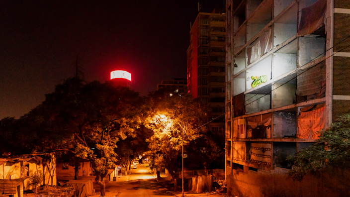 The derelict San Jose building with its window frames removed as seen at 04:30 in Johannesburg, South Africa